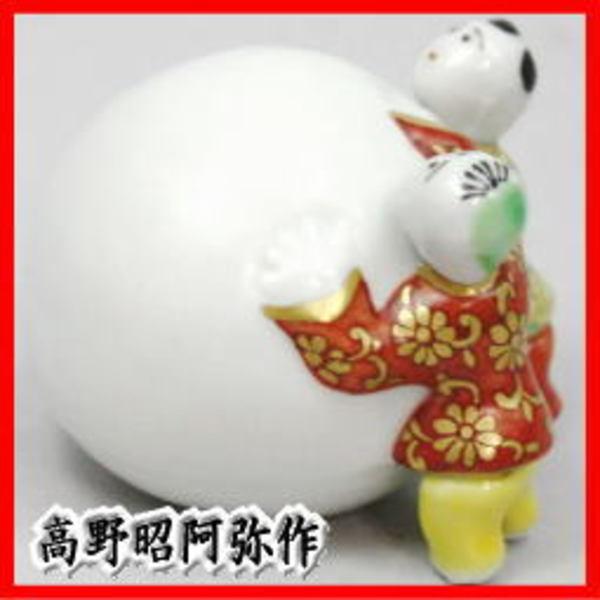 茶器 茶道具 蓋置き 色絵 雪だるま二閑人 ボール型 高野昭阿弥作 和楽庵