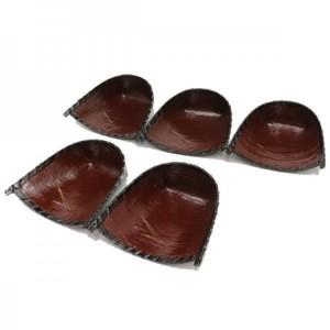 【茶器/茶道具 菓子器】 銘々皿 松葉紋 箕 網代竹製 和紙張 柿渋仕上げ 5枚セット