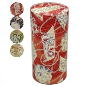 【茶筒】 和紙張り 内蓋付 和柄 大正浪漫 (春夏秋冬) 200g用
