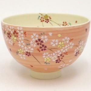【茶器/茶道具 抹茶茶碗】 桃釉 枝垂桜 見谷福峰作