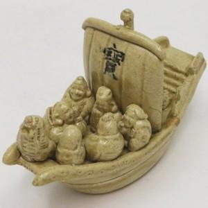 【茶器/茶道具 香合】 益子焼き 黄瀬戸 宝船 (七福神に宝船) 三武信家作