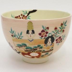 【茶器/茶道具 抹茶茶碗 ひな祭り】 仁清写し 桃釉 立雛 見谷福峰作