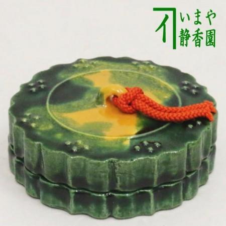 【茶器/茶道具 香合】 楽焼き 三彩古鏡 佐々木松楽作