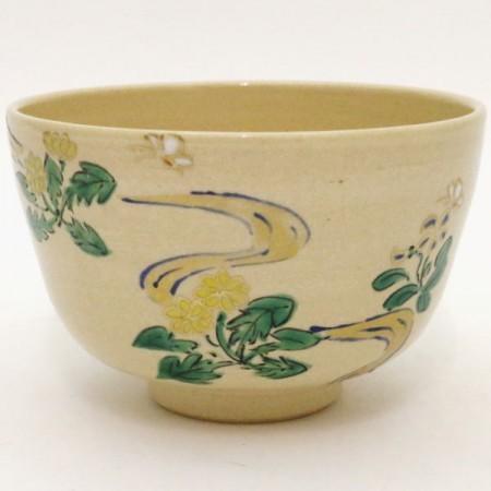 【茶器/茶道具 抹茶茶碗】 色絵茶碗 蝶にタンポポ 伊藤東山作