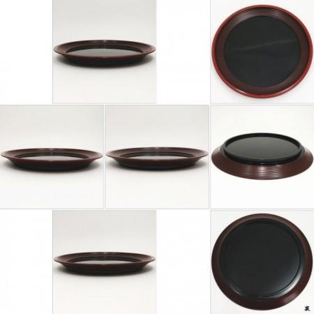 【茶器/茶道具 菓子器】 干菓子器 轆轤目(ろくろめ) 縁朱丸盆 川端近左作