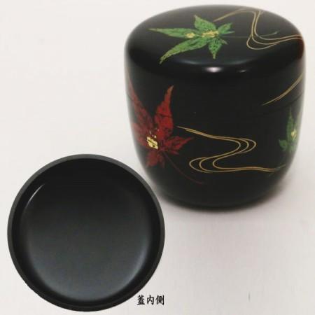 【茶器/茶道具 なつめ(お薄器)】 大棗 黒塗り 合口 押楓に流水 山下泰園作