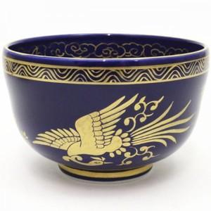 【茶器/茶道具 抹茶茶碗】 瑠璃釉 金襴手鳳凰 林淡幽作(五山窯)