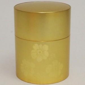【茶筒】 薩摩彫金 小花 150g用