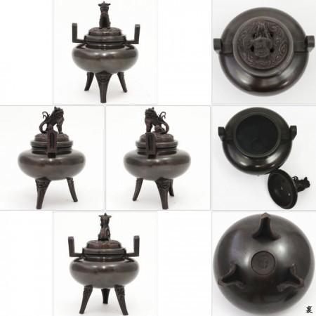 【茶器/茶道具 香炉】 唐銅 獅子蓋 平丸 白峰作