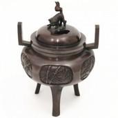 【茶器/茶道具 香炉】 唐銅 獅子蓋 間取松竹梅 瑞峰作
