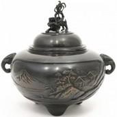 【茶器/茶道具 香炉】 唐銅 獅子蓋 鉄鉢 山水象耳 大振り