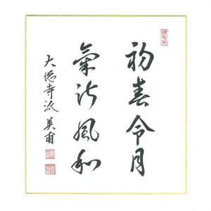 【茶器/茶道具 色紙】 新元号色紙 令和 直筆 初春令月気淑風和 前田英甫筆