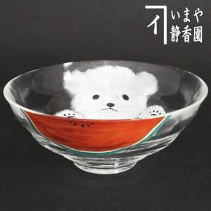 【茶器/茶道具 ガラス抹茶茶碗(硝子抹茶茶碗)】 ガラス(硝子) 平茶碗 スイカおいしいいね 今岡都作 耐熱硝子