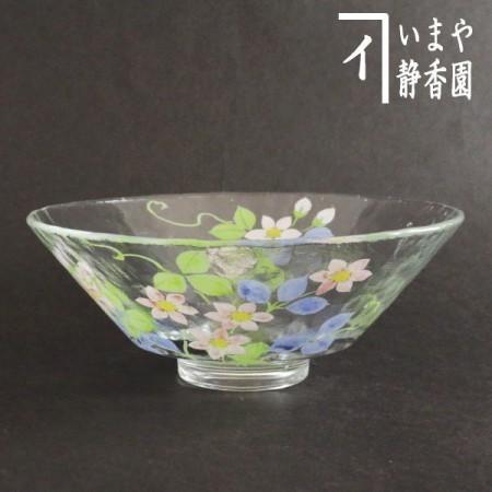 【茶器/茶道具 抹茶茶碗】 ガラス(硝子) 義山(ぎやまん) 平茶碗 鉄線(鉄仙) 水出宋絢作 超耐熱硝子