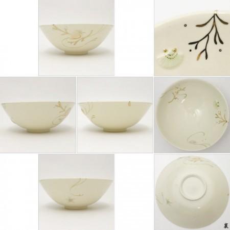 【茶器/茶道具 抹茶茶碗】 平茶碗 浮彫 海松貝 今岡三四郎作