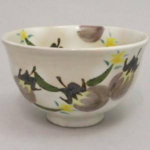 【茶器/茶道具 抹茶茶碗】 粉引 茄子に花胡瓜 中村与平作