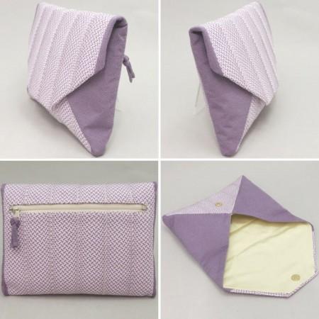 【茶器/茶道具 数奇屋袋(数寄屋袋)】 五嶋紐(組紐) 新千鳥 薄紫 後ろチャック付ポケット