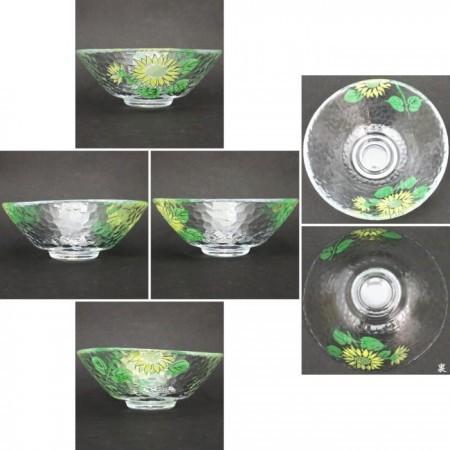 【茶器/茶道具 ガラス抹茶茶碗(硝子抹茶茶碗)】 ガラス(硝子) 平茶碗 向日葵 東山珠峰作 耐熱硝子