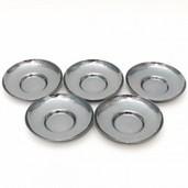 【煎茶道具/煎茶器 茶托(茶たく)】 燻銀 打出 亀甲紋 5枚セット 3.5寸