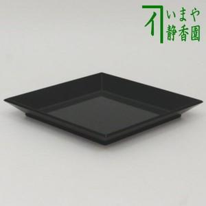 【茶器/茶道具 拝見盆】 黒真塗り 菱盆