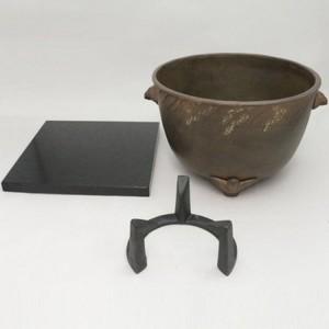 【茶器/茶道具 風炉/紅鉢】 鉄風炉 瓶掛用 稲雀 (五徳・小敷板付き)