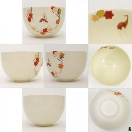 【茶器/茶道具 抹茶茶碗】 浮彫 紅葉に鹿 今岡三四郎作