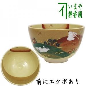 【茶器/茶道具 抹茶茶碗 お月見】 秋草に兎 前にエクボあり 加藤永山作