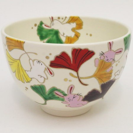 【茶器/茶道具 抹茶茶碗 お月見】 色絵茶碗 銀杏と兎 加藤永山作