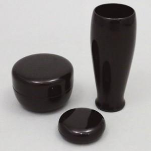 【茶器/茶道具 茶箱用三点セット】 溜塗り 無地 棗・香合・茶筅筒三点セット 木製