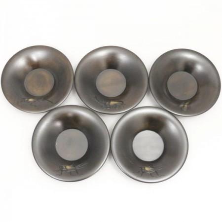 【煎茶道具/煎茶器 茶托(茶たく)】 彫 夏の虫 溝呂木など 篠原傑作 5枚セット
