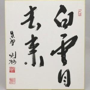 【茶器/茶道具 色紙】 直筆 白雲自去来 秋吉則州筆