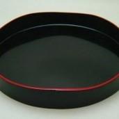 【茶器/茶道具 茶箱道具】 山道盆 黒真塗り 爪紅 本漆塗り  木製
