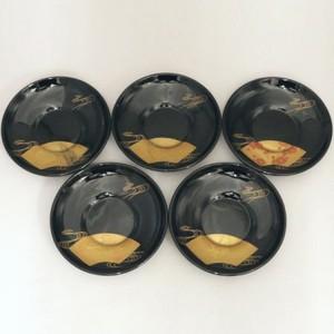 【煎茶道具/煎茶器 茶托(茶たく)】 輪島塗り 絵変り 扇面 5枚セット