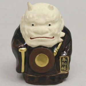 【茶器/茶道具 香合 節分】 膳所焼き 鬼の念仏 陽炎園作(岩崎新定)