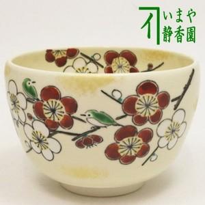 【茶器/茶道具 抹茶茶碗】 仁清写し 紅白梅に目白 中村与平作
