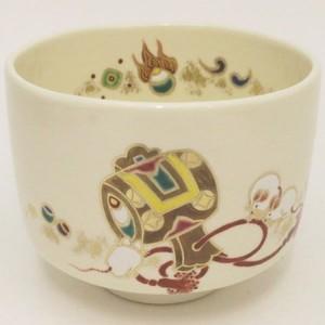 【茶器/茶道具 抹茶茶碗 干支「子」】 干支茶碗 子 小槌に子 田中方円作 (干支子 御題望)