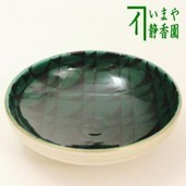 【茶器/茶道具 抹茶茶碗】 平茶碗 色絵 緑釉 通次阿山作