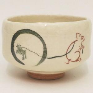 【茶器/茶道具 抹茶茶碗 干支「子」】 干支茶碗 白楽茶碗 鼠の牛引き 佐々木松楽窯 (干支子 御題望)