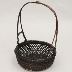 【煎茶道具 急須台/湯沸かし台】 染 手付き籠