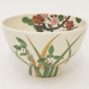 【茶器/茶道具 抹茶茶碗】 仁清写し 白釉 蘭に梅 水出宋絢作