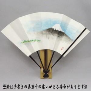 【茶道具 飾扇子(飾り扇子)】 手描き 富士山の図 (美保の松原) 舟月庵画 扇子立付き