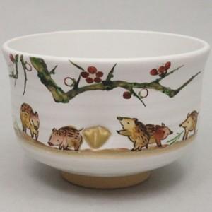 【茶器/茶道具 抹茶茶碗 干支「亥」】 干支茶碗 竹型 灰釉 松竹梅に亥 中村良二作