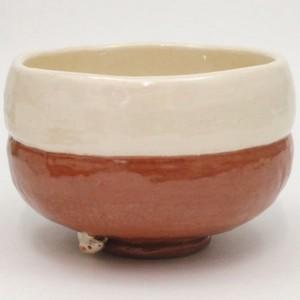【茶器/茶道具 抹茶茶碗 干支「子」】 赤楽茶碗 鏡餅 高台に子 大野桂山作