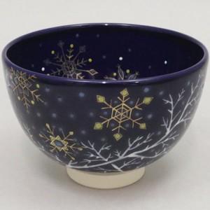 【茶器/茶道具 抹茶茶碗 クリスマス】 瑠璃釉 樹氷(雪華) 見谷福峰作