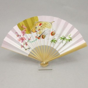 【茶器/茶道具 扇子 干支「亥」】 干支扇子 5寸 白竹 玩具亥 ピンク