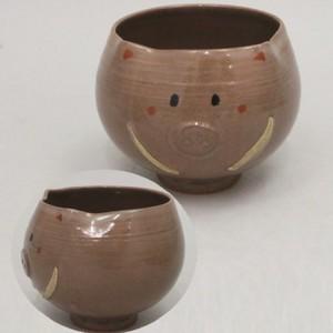 【茶器/茶道具 抹茶茶碗 干支「亥」】 干支茶碗 亥(猪型) 辻野一葉作 【干支「亥」・御題「光」】