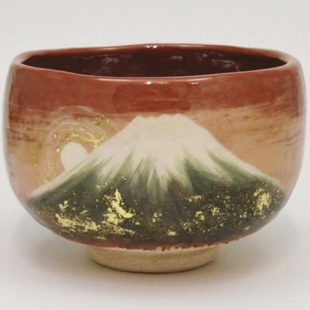 【茶器/茶道具 楽焼茶碗 御題「望」】 御題茶碗 赤楽茶碗 富士御来光 大野桂山作