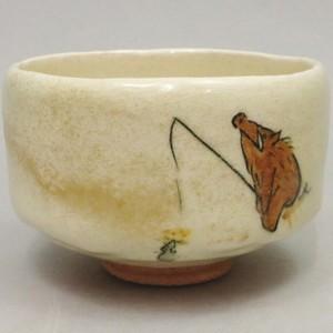 【茶器/茶道具 抹茶茶碗 干支「亥」】 干支茶碗 白楽茶碗 亥の鼠釣り 佐々木松楽窯