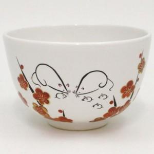 【茶器/茶道具 抹茶茶碗 干支「子」】 干支茶碗 白釉 新春親子鼠 山岡善高作 (干支子 御題望)