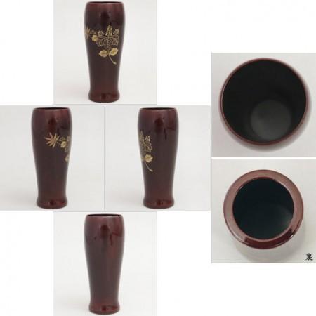 【茶器/茶道具 茶箱用三点セット 塗り物】 棗・香合・茶筅筒三点セット 溜塗り 菊桐(高台寺) 木製